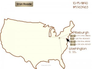 Screen shot of Iron Roads as submitted to Ludum Dare
